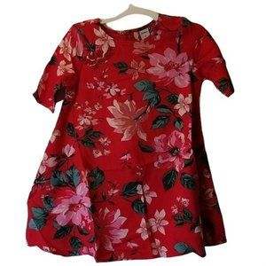 Old Navy Rayon 3T Red Floral Girls Dress JJ19